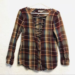 GILDED INTENT Multicolor Plaid V Neck Top